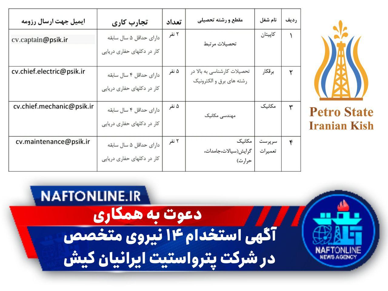 آگهی استخدام در شرکت پترواستیت ایرانیان کیش | نفت آنلاین
