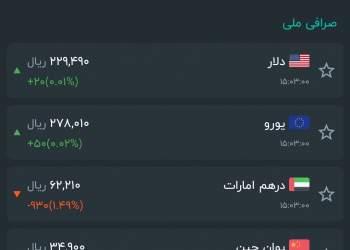آخرین قیمت ارز در صرافیها | برگرفته از اپلیکیشن سیگنال