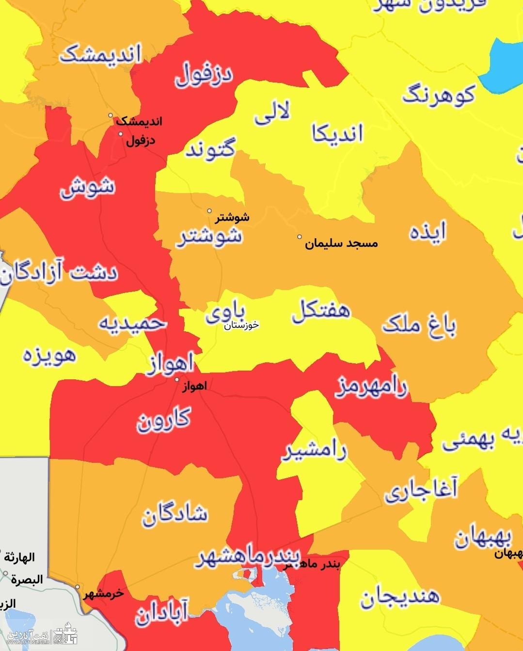 نقشه وضعیت کرونایی استان خوزستان