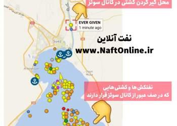 نقشه کانال سوئز و کشتی مسدود کننده کانال   نفت آنلاین