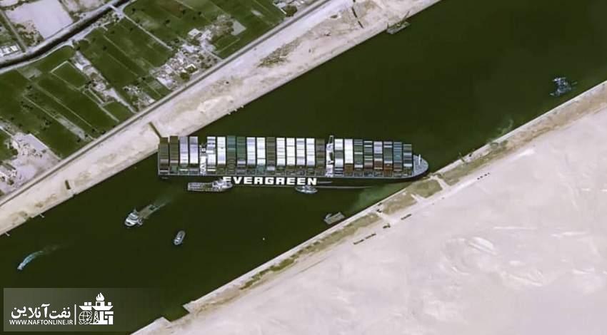 تصویر کشتی ای که کانال سوئز را مسدود کرده   نفت آنلاین