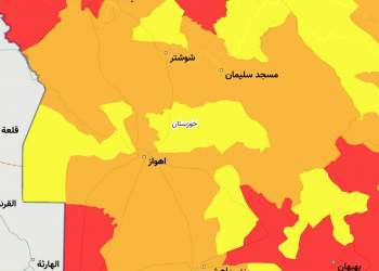 نقشه دقیق وضعیت کرونایی خوزستان