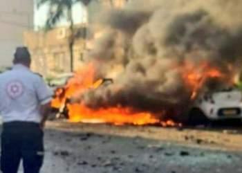 عکسی از انفجار خودرو در تل آویو