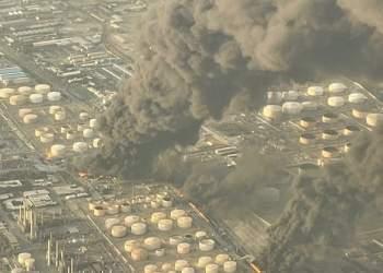 تصویری هوایی از آتش سوزی پالایشگاه تهران | نفت آنلاین