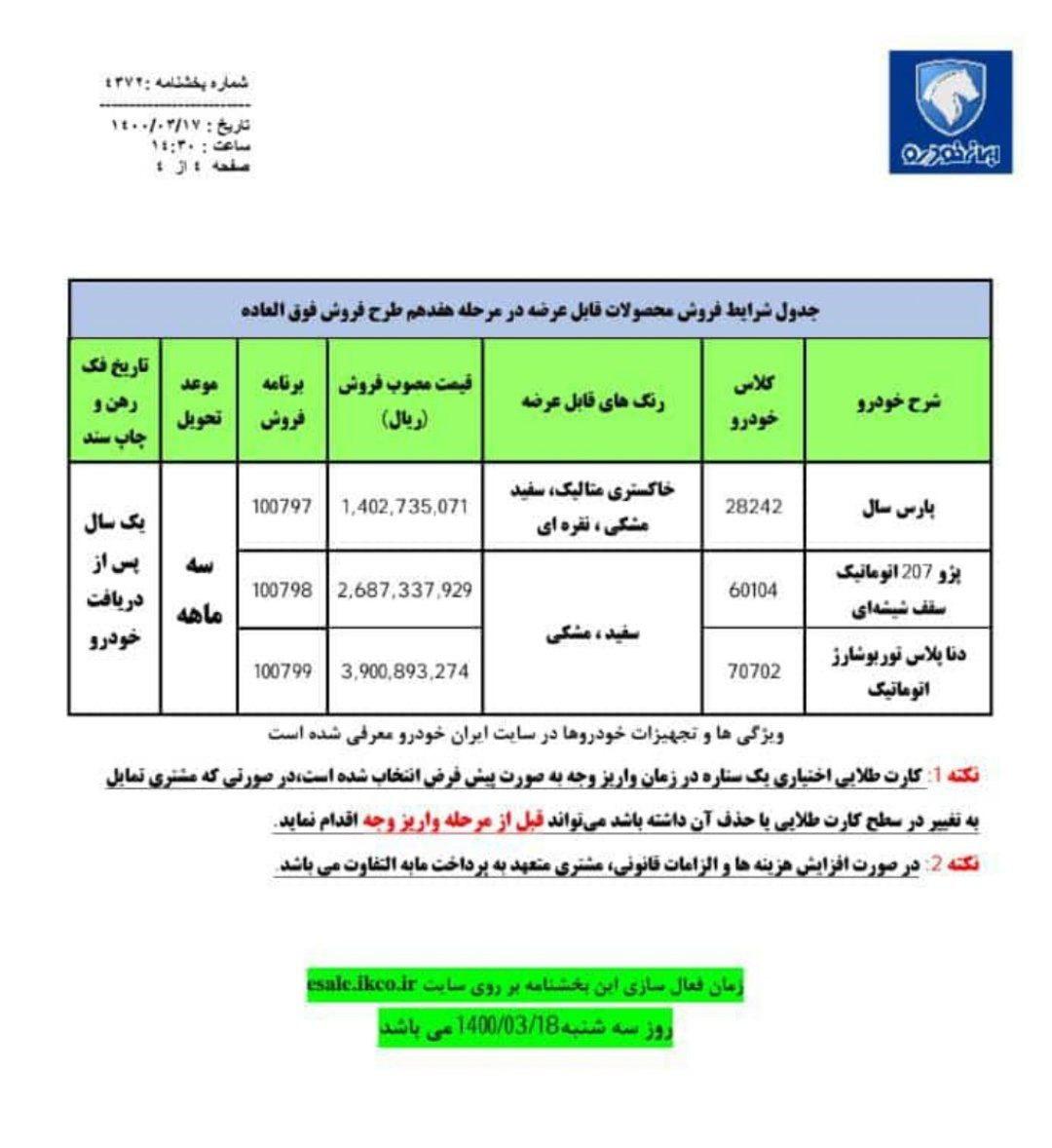 اطلاعیه شماره ۱۷ هفدهم ایران خودرو