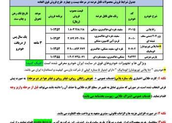 تصویر محصولات عرضه شده در بخشنامه شماره ۲۴ ایران خودرو