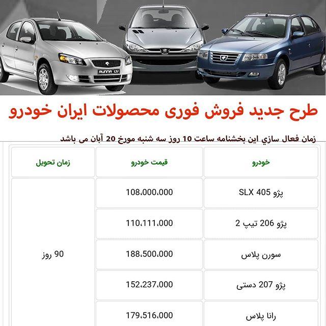 لیست فروش محصولات ایرانخودرو